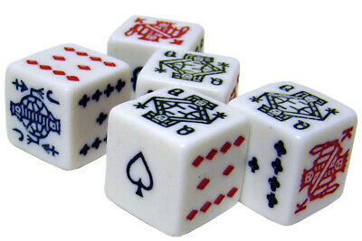 Poker Dice - 5 Pack NEW Cream Color Dice