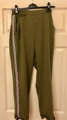 New Look 915 Generation Aged 14-15 Years Khaki Green Straight Trousers Striped