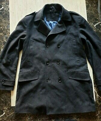 mens Stunning JOHN LEWIS WOOL herringbone reefer jacket pea coat size XL. c