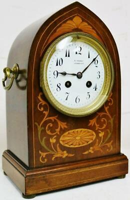 Antique French 8 Day Striking Mahogany Lancet Top Inlaid Marquetry Mantel Clock
