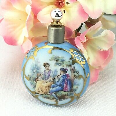 Vintage Mini Painted Porcelain Czech Perfume Bottle Courting Couple Lay Down