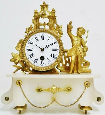 Antique French 8 Day Gilt Metal Lady Figurine Tic Tac Timepiece Mantel Clock