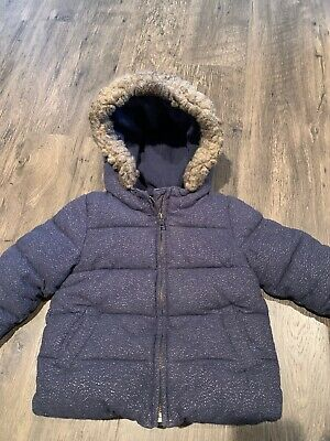 BABY GAP WINTER PUFFER COAT JACKET WITH FUR HOOD GIRLS SIZE 3 years Navy Sparkle