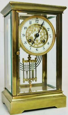 Stunning Antique French 8 Day Striking 4 Glass Regulator Table Mantel Clock