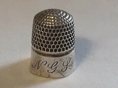 Antique Sterling Silver Monogrammed Ngl Thimble / Size 3