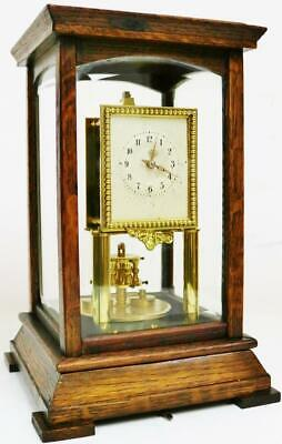 Rare Antique Gustav Becker Oak 4 Glass 400 Day Anniversary Torsion Mantel Clock
