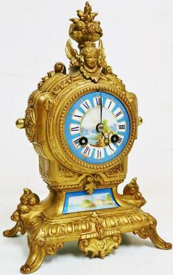 Antique French 8 Day Bell Striking Gilt Metal & Sevres Porcelain Mantel Clock