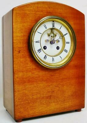 Antique French 19thC 8 Day Bell Striking Solid Mahogany Arched Top Mantel Clock