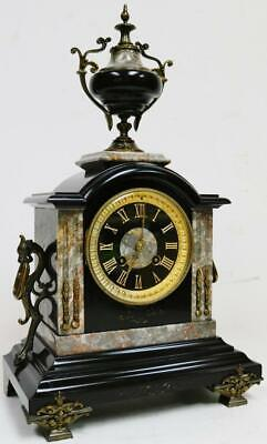 Antique French 8 Day Slate, Grey Marble & Bronze Bell Striking Mantel Clock