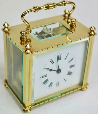 Wonderful Antique French 8 Day Polished Brass Unusual Timepiece Carriage Clock