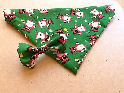 Father Christmas Dog Bandana Green Neck Scarf Neckerchief with / without bowtie