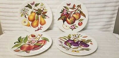 """Lot Of 4 Made In England Bone China 8"""" Plates Fruit Peach Apple Pear Plum Mint"""