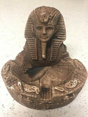 "Egyptian King Pharaoh Tut Bust Mask ASHTRAY STATUE  3"" HIGH"
