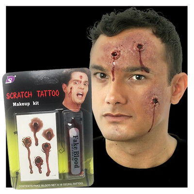 Halloween Sangue Finto Spaventosa Festa Aiuto Spooky Make Up Grattare Tattoo Kit