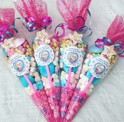 20 X Frozen Themed Pre Filled Party Cones personalised+free sweety bag