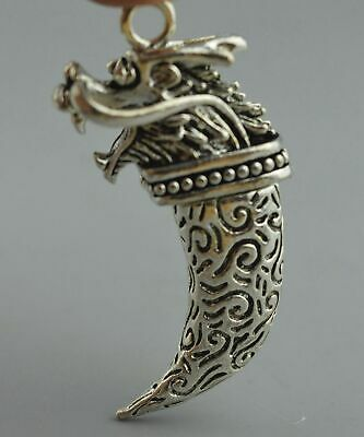 Tibet China Collectable Handwork Miao Silver Carve Totem Dragon Head Pendant