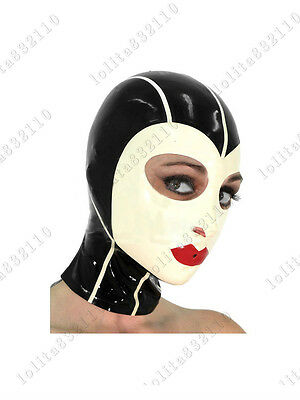3851 Latex Rubber Gummi Red Lips Mask Hood customized catsuit costume 0.4mm sexy