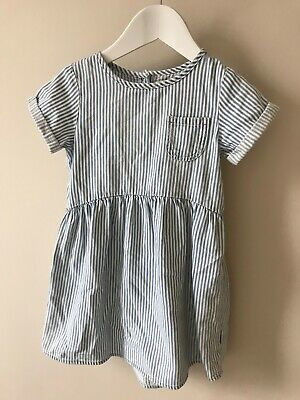 Next girls white and blue stripe dress 4-5 years
