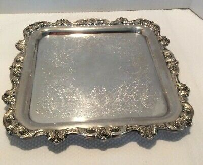 """Vintage  Antique Silver Plate Footed Salver  Square Serving Tray Cake Stand 12"""""""