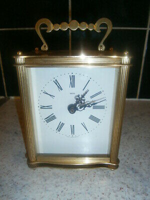 Vintage Smiths Large Brass Quality Quartz Battery Operated Carriage Clock