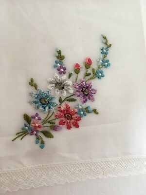 VINTAGE 50s SWISS COTTON LACE HAND  EMBROIDERED COLOURED FLORAL HANDKERCHIEF New