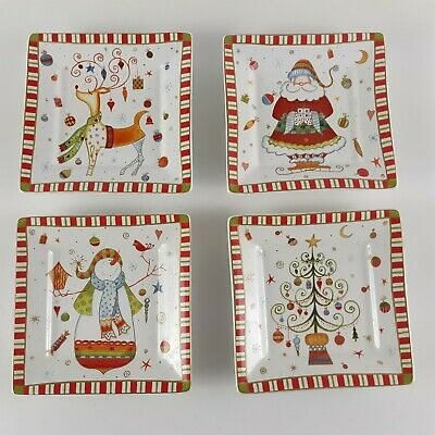 (4) 222 FIFTH 'Christmas Play' 5 3/8 Square Appetizer Plates Holiday Snacks READ