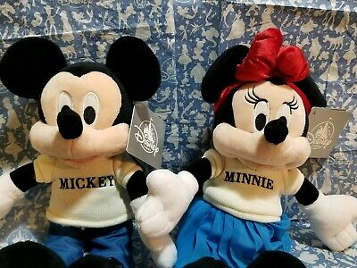 Disney Parks Authentic Mickey Mouse Club Mouseketeer Mickey & Minnie Plushes Nwt
