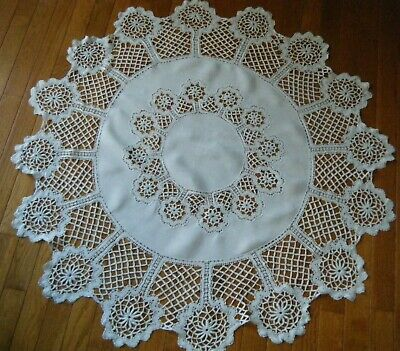 Old antique Tablecloth round trimmed border Russian bobbin lace Europe