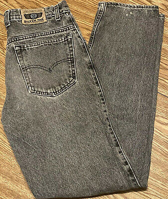 Levi Strauss & Co Gray Vintage Black Wash SilverTab Jeans 30x32 Shows Age