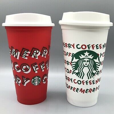 """Starbucks Set of 2 Christmas 2019 """"Merry Coffee"""" Red & White Hot Reusable Cups"""