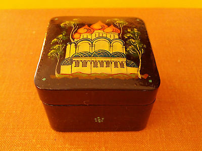 Russian Palehk Miniature Lacquered Box Small Size 40mm x 40mm