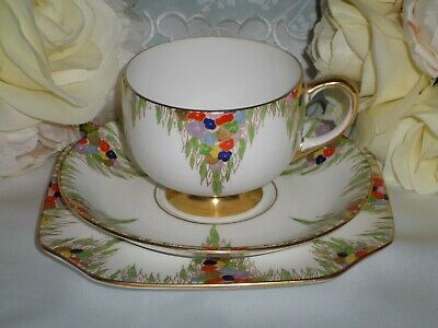 Vintage Carlton China Trio Cup Saucer And Side Plate
