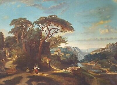 19th Century Landscape Painting on Canvas To be Restored French Antique Painting