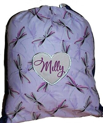 Kids Personalised Drawstring Library Bag Dragonfly Flight SMALL  First name FREE