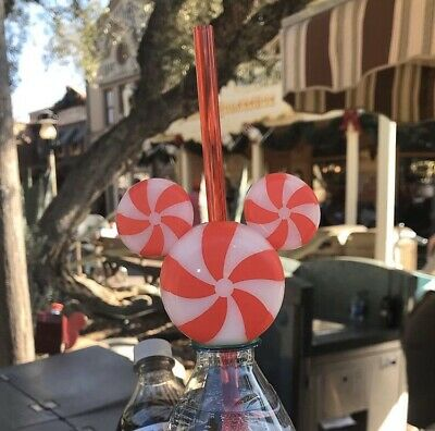 Disney Parks Mickey Mouse Christmas Peppermint Bottle Topper Straw 2019 New