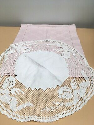 2 X  Vintage Lace Doiley &  Pink Linen Runner