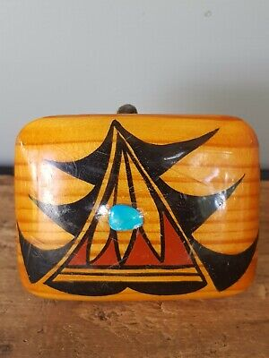 American indian Hand Crafted Wooden Belt Buckle Embedded With Turquoise