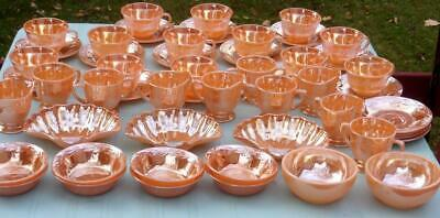~Vtg Collection (52) Pcs. Fire King Peach Lustre Dish Oven Ware Usa Laurel Leaf
