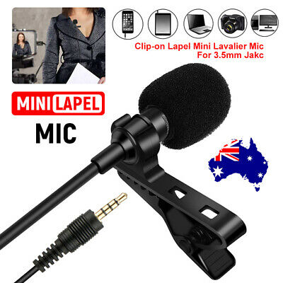 Clip-on Lapel Mini Lavalier Mic Microphone 3.5mm For iPhone&Android Smartphones