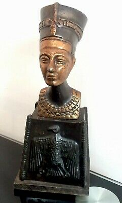 Vintage Ancient Egyptian Queen Nefertiti Bronze Finish Bust Head Statue Figure
