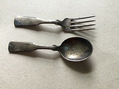 "Vintage Sterling Silver Baby 4.25"" Fork And Spoon No Monogram"