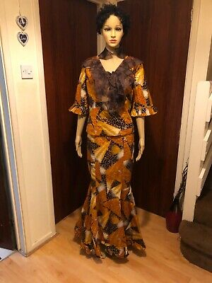 African print skirt and blouse in brown colour- Ankara material