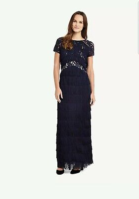Phase Eight Astraea Lace Fringe Gatsby flapper maxi/long gown Dress size 12 £189