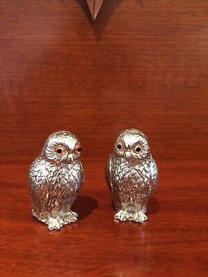 OWLS ----- Silver Plated Salt & Peppers.