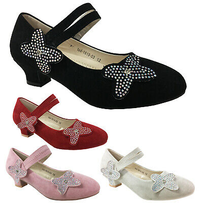Girls Wedding Sandals Childrens Low Heel Party Bridesmaid Kids Court Shoes Size