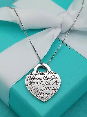 "Tiffany & Co Sterling Silver ""727 Fifth Ave"" NOTES Heart Necklace 20"""