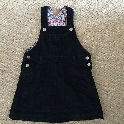 Jojo Maman Bebe Girls Navy Cord Pinafore Dress Size 3-4 Years ExCondition