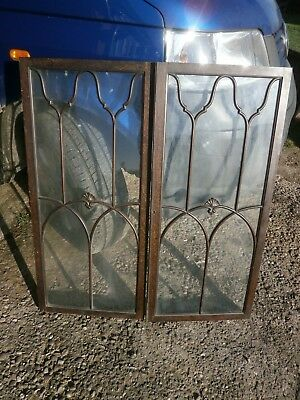 Pair of antique Cuban Mahogany astral glazed cupboard doors
