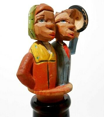 Vint Folk Art Anri Italy Kissing Couple Kinetic Painted Wood/Cork Bottle Stopper