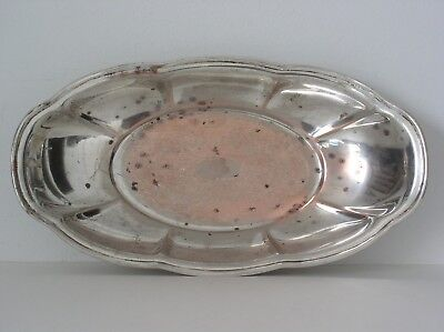 Vintage Silver On Copper Oval Serving Dish Tray X / HS Hartford Sterling Co.